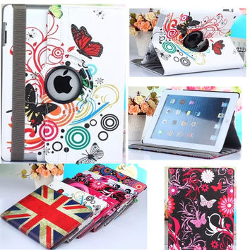 freeshipping new fashion painted flower butterfly 360 rotate PU leather case table cover stand for Apple iPad air 2 case ipad 6