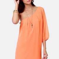 C'mon Get Happy One Shoulder Bright Peach Dress