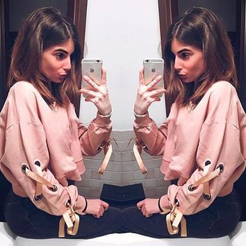 Womens Pink Long Sleeve Shirts Sweater +Gift Necklace