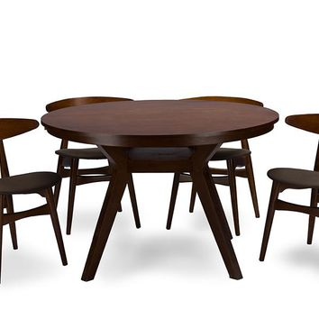Baxton Studio Flamingo Mid-Century Dark Walnut Wood 5PC Dining Set Set of 1