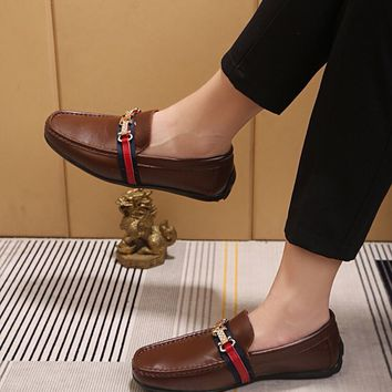 LV Louis Vuitton Men's Vintage Leather Casual Loafer Shoes Brown Best Quality