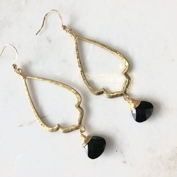 Moon Light Black Gold Earrings