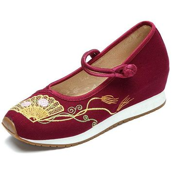Fan Embroidered Chinese Style Heel Increasing Women Shoes