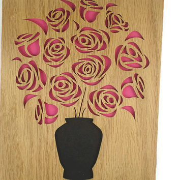 Pink Or Red Rose Wall Art Portrait Handmade From Oak Plywood By KevsKrafts