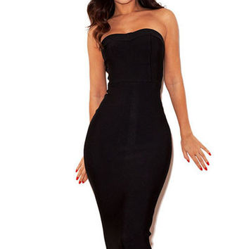 Black/Strapless Fishtail Party Bandage Dresses