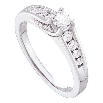 14kt White Gold Women's Round Diamond Solitaire Bridal Wedding Engagement Ring 1/2 Cttw - FREE Shipping (USA/CAN)
