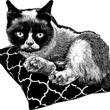 grumpy cat on pillow clip art  PNG Digital Image Download cats pets animal art graphics