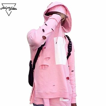 Holes Beggar Style Skateboard Men's Fashion Hoodies Cherry Pink Hip Hop Hooded Sweatshirt Casual Unisex Pullover