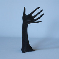 VINTAGE DISPLAY HAND, Shop Display Hand, Retro German Black Velvet Hand, 1960s or 1970s, Ring Holder, Ring Display Hand Active