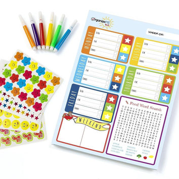 OrganizeME Kid Behavior Chart and Daily Planner Pad (52 Sheets) - Chore Chart...