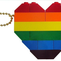 "Collectible heart (Double thickness) Model 1 - made from LEGO (R) bricks on a 24"" Silver/Gold plated ballchain - RAINBOW"