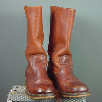 Vintage 70s Mens Rust Leather Campus Boots 1970s Rugged Distressed Dark Tan Stovepipe Square Toe 11 D