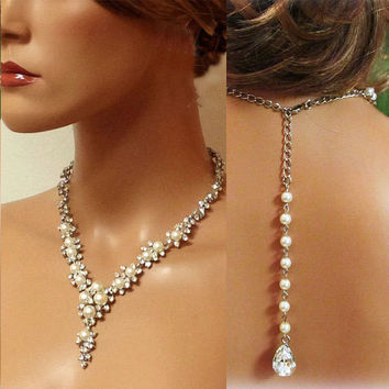 Bridal necklace earrings , Bridal back drop necklace , vintage inspired rhinestone pearl bridal statement, bridesmaid jewelry