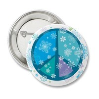Flowery Peace sign Pinback Buttons from Zazzle.com