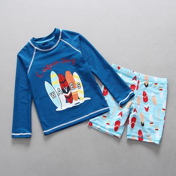 2 Colors Kids Boys Swimwear Surf Board Print Two Pieces Rash Guards Long Sleeved Rashguard Swimming Trunks Set Children Swimsuit