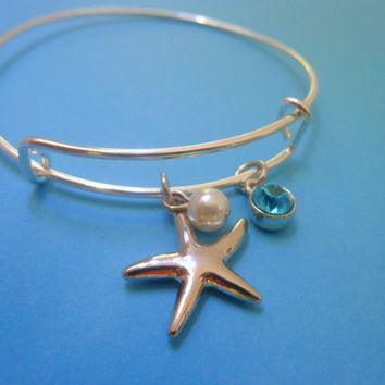 Alex and Ani Inspired Beach Wedding Starfish Bridesmaid Gift/Maid of Honor Gift Beach Lover  Bracelet