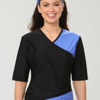 Wrap Swim Shirt- Black/Periwinkle - Swimwear - ModLi
