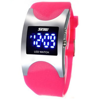 SKMEI 0951 3ATM Water Resistant LED Digital Display Alloy Case Silicone Band Arced Dial Sport Electronic Wrist Watch (Pink)