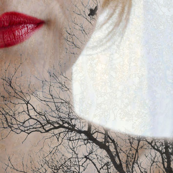 Portrait Photography, Woman Art, Conceptual Photograph, Silhouette, Red Lips, Feminine, Surreal Art, Tree Print, Fine Art - Connection