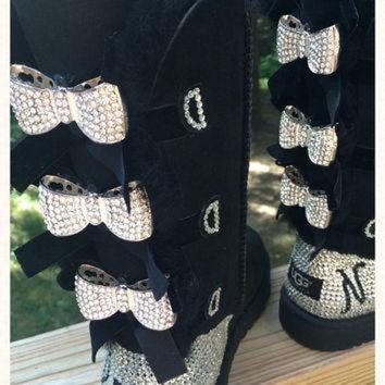 ONETOW Custom Order!!! Tall black Bailey Bow Ugg boots, Blinged with Bows. Swarovski monogram