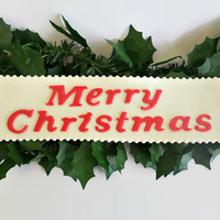 "Christmas Edible Cake Fondant Topper Sign, Party Decor Holiday "" Merry Christmas "" Plaque, Gumpaste Cake Topper"