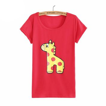 Women 2016 Fashion Cartoon Pattern Giraffe Print Harajuku Graphic Tees Funny Tops Kawaii Basic Casual T-Shirts