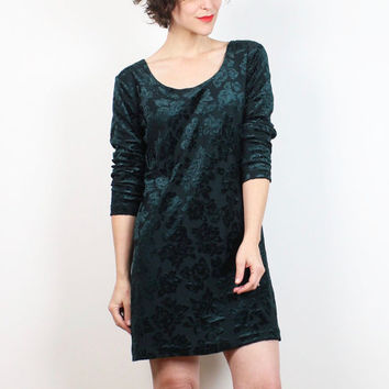 Vintage Burn Out Velvet Dress 1990s Dress Dark Forest Green Floral Textured Babydoll Dress 90s Dress Soft Grunge Soft Goth Dress M L Large