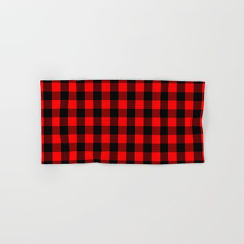 Classic Red and Black Buffalo Check Plaid Tartan Hand & Bath Towel by podartist