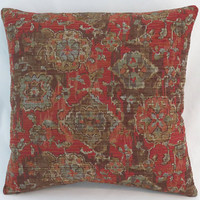 """Rust Southwest Tapestry Pillow, 17"""" Square, Red Brown Tan Orange Denim Blue, Oriental Carpet Style, Cover Only or Insert Included"""