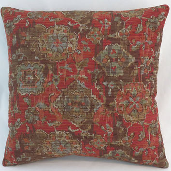 "Rust Southwest Tapestry Pillow, 17"" Square, Red Brown Tan Orange Denim Blue, Oriental Carpet Style, Cover Only or Insert Included"