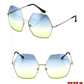 2 PAIR NEW TREND Popular Women Men Style Fashion Metal Frame Octagon SUNGLASSES