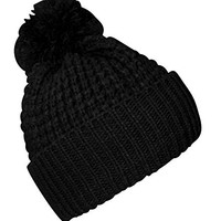 Peach Couture Classic Womens Warm Hand Knit Pom Thick Winter Ski Snowboard Hat (Black)