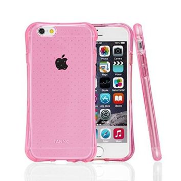 TANNC TPU Case for iPhone 6s Plus / iPhone 6 Plus (5.5 inch), Flexible Slim Bumper Back Case with Shockproof Protective Cushion Corner (Comprehensive Protection) - Transparent Pink
