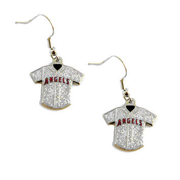 Los Angeles Angels of Anaheim Women's Glitter Jersey Dangle Earrings