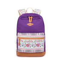 Floral Splicing Casual School Backpack Travel Bag