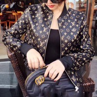 ONETOW LV female Leather clothing Embroidery Loose coat