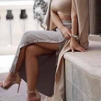Split Knit Maxi Skirt