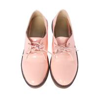Pink Glossy Oxford Shoes