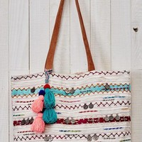 Boho Aztec Multi Trim Tote Tapestry Bag