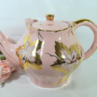 Vintage Teapot Pink and Gold made in Ceramic and Art Deco Style with Maple Leaf