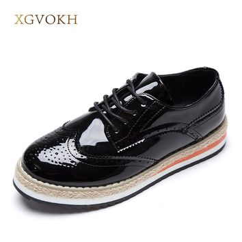 XGVOKH Women's Flats Leather Fashion Shoes Women Platform Lace-Up Wingtips Square Toe Oxfords Shoe
