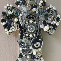 Large Wall Cross - Beaded Embellished Crystal, Pearl, Onyx Vintage Jewerly - One-of-a-Kind Cross
