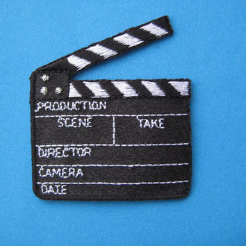 Iron-on embroidered Patch Lights Camera Action! Clapperboard 2.25 inch