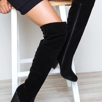 Locklyn Suede Knee High Boots - Black