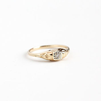 Vintage 14k Rosy Yellow & White Gold Single Cut Diamond Ring - Size 7 1/4 Art Deco Two Tone 1930s Engagement Bridal Promise Fine Jewelry
