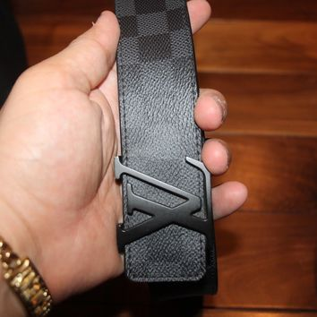 100% Authentic Louis Vuitton Belt Men Damier Graphite LV Black Size 95/38 M9808T