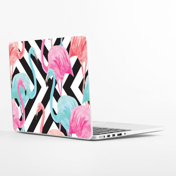 Flamingos over Diamonds Laptop Skin