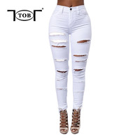 spring summer 2016 new hot white women jeans american apparel zipper front long pants ripped hole rock plus size XL jeans XD526