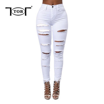 spring summer 2017 new hot white women jeans american apparel zipper front long pants ripped hole rock plus size XL jeans XD526