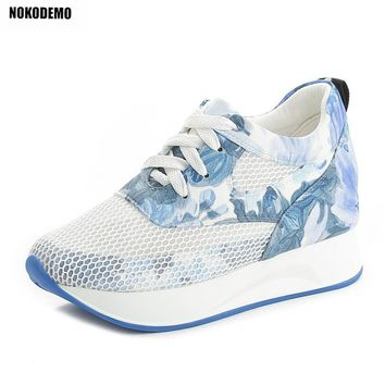 Women Fashion Flower Print Wedge Sneakers Lace Up Wedges Vulcanize Shoes for Summer Autumn